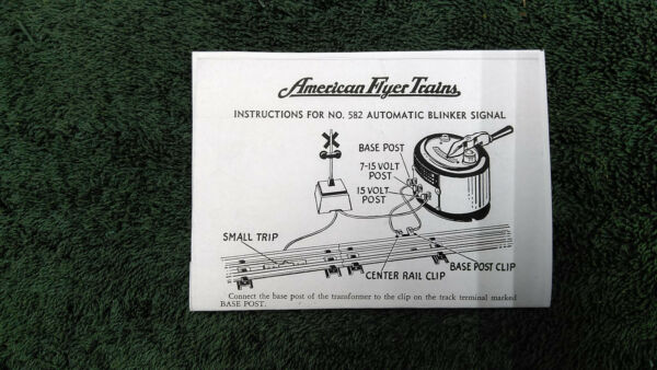 AMERICAN FLYER M2204 582 AUTOMATIC BLINKER SIGNAL INSTRUCTION PHOTOCOPY $5.00