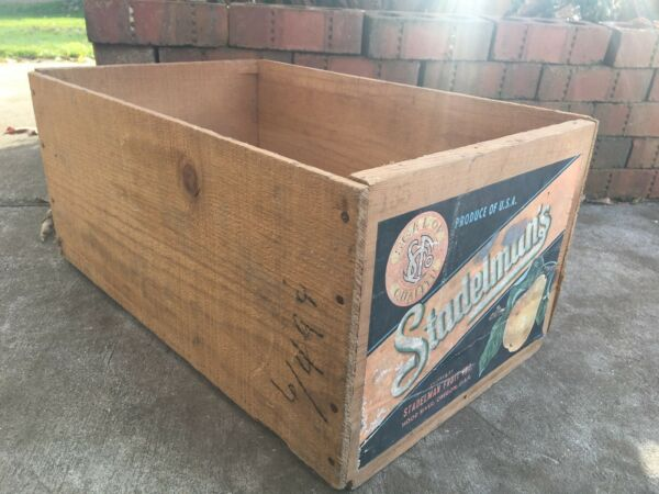 Vintage Wooden Produce Fruit Crate Stadelman's Pears Box Hood River Oregon Box