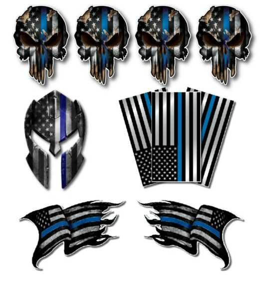 10 Thin Blue Line Decal Sticker Police Officer American Flag Blue Lives Matter $7.99