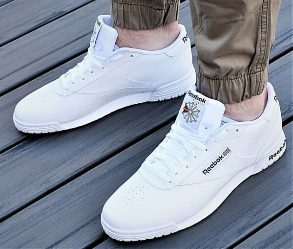 NEW REEBOK CLASSIC EXOFIT LO CLEAN LOGO INT MEN'S TENNIS LIFESTYLE SHOES WHITE