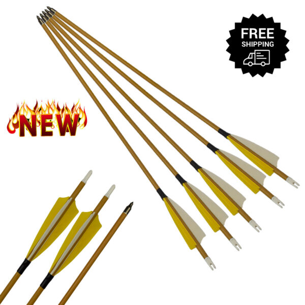 6 pcs Pure Carbon Hunting Arrows With Yellow Wood Camo For Outdoor Archery Bow $46.99