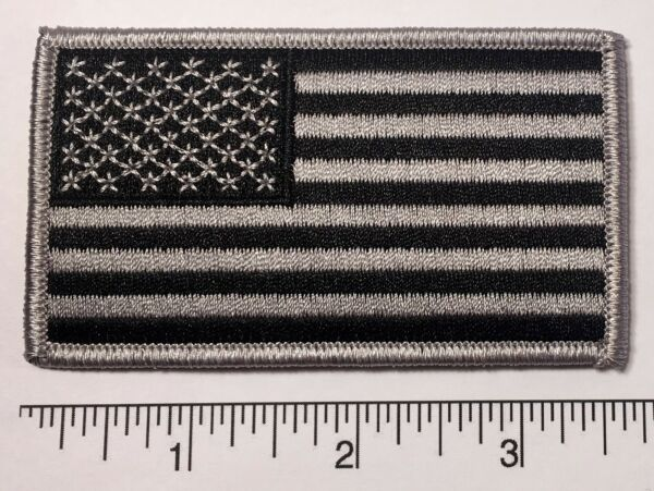 American Flag GREY Embroidered Patch 3.5x2