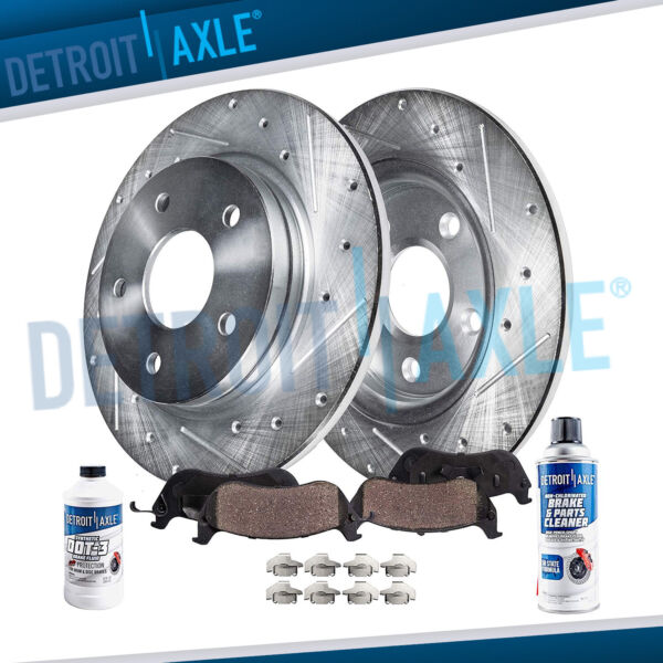 REAR. for 2004 2010 Toyota Sienna Drilled Slotted Rotors Ceramic Brake Pads $58.54