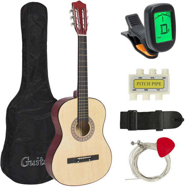 38''IN BEGINNER ACOUSTIC GUITAR BUNDLE KIT WCASE STRAP DIGITAL ETUNER PICK PITC