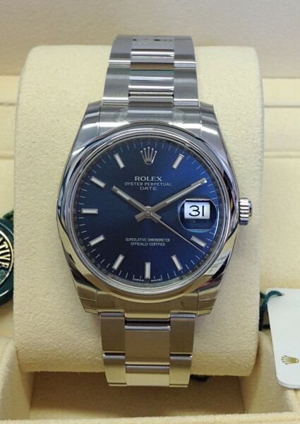 Rolex Oyster Perpetual Date 115200 34mm Blue Dial - Box & Papers 2018 - Unworn!