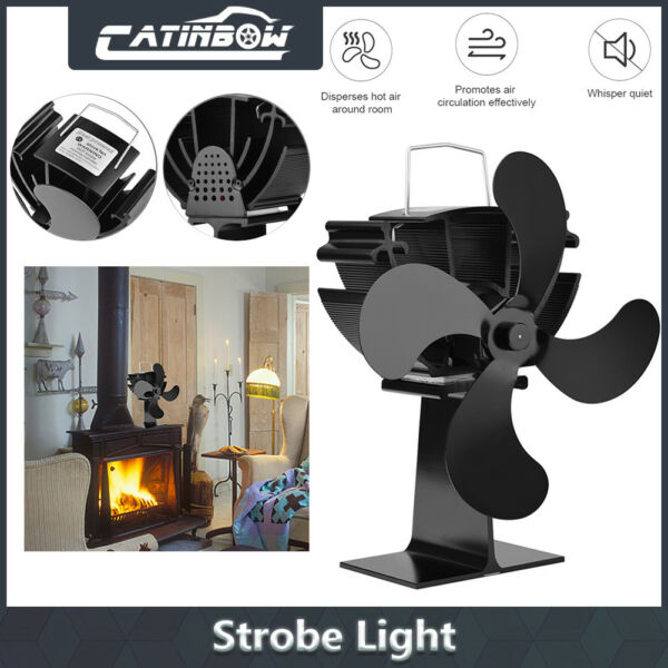 4-Blade Wood Heater Stove Fan Fireplace Fire Heat Powered Thermoelectric Ecofan