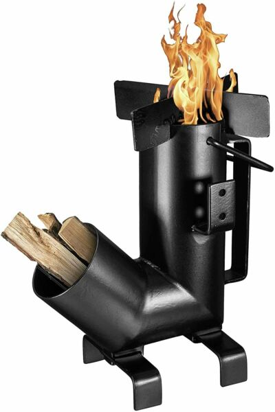 Camping Rocket Stove with Handle Campfire Cooking Survival Cooking Heater