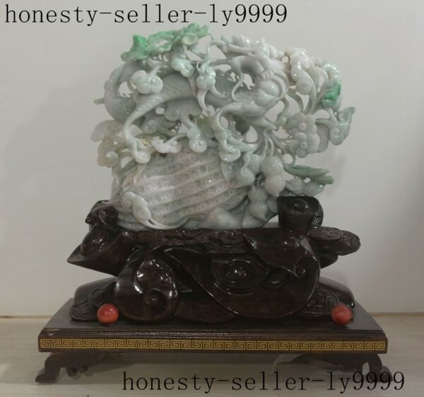 old China Natural Emerald Jade Jadeite master hand carved Dragon peanuts statue