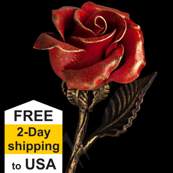 Hand Forged Red Iron Rose - Wrought Iron Flower - Romantic Anniversary Gift