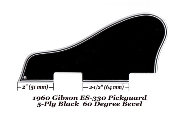 ES-330 1960 Pickguard 5-Ply Black WTop Spacer & Bracket for Gibson Project NEW
