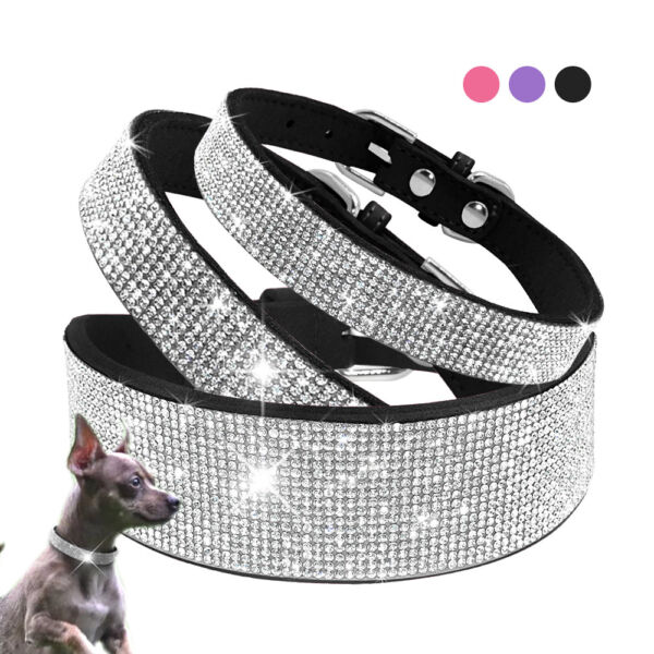 Luxury Dog Collars Bling Rhinestone Crystal Necklace for Pet Cat Puppy Chihuahua $14.99