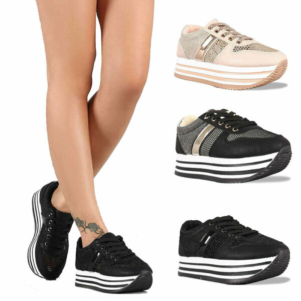 Women's Breathable Mesh Casual Walking Shoes Thick Platform Fashion Sneakers