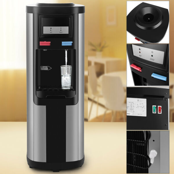 5 Gallon Top Loading Stainless Steel Hot Cold Water Cooler Dispenser Home Office $125.99