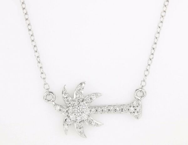 14K Natural Diamond Palm Tree Necklace Solid White Gold 0.30 Cts