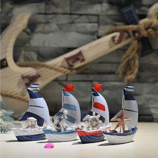 Mediterranean Nautical Tropical Metal and Wood Hand Painting Sailboat Decor Set