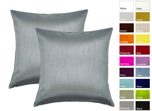Aiking Home Solid Faux Silk Decorative Euro Sham  Pillow Cover ( Set of 2 )
