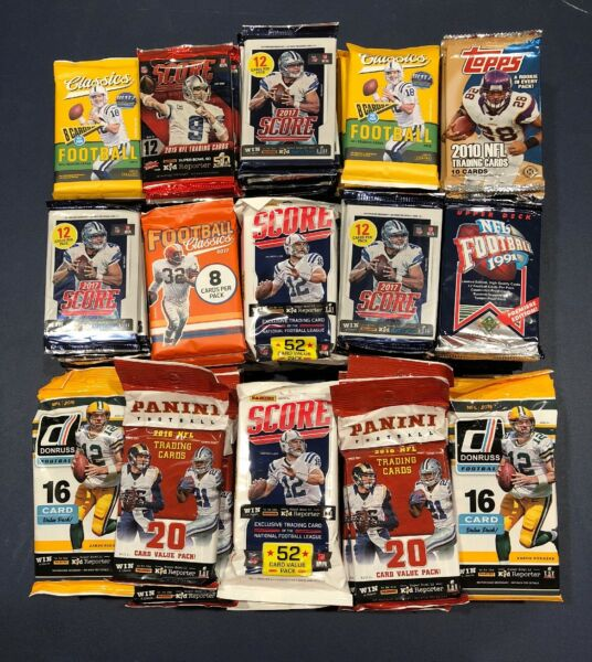 Unopened Football Packs With 100 Cards Plus One Jersey Patch Or Auto Guaranteed