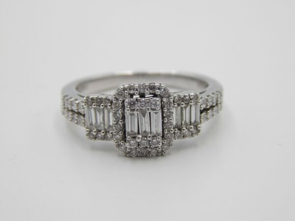 NEW 1.0 tcw Emerald Cut Illusion Halo Diamond Engagement Ring Designer 14k EVS
