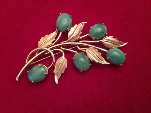 VTG 14K Yellow Gold Green Jade Leaf Brooch Signed Harry S Bick (HSB) Stunning