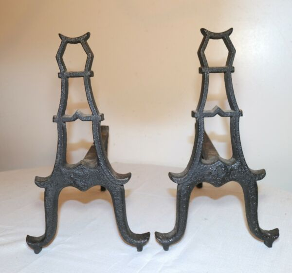 pair of 2 antique 18th century cast wrought iron fireplace andirons firedogs