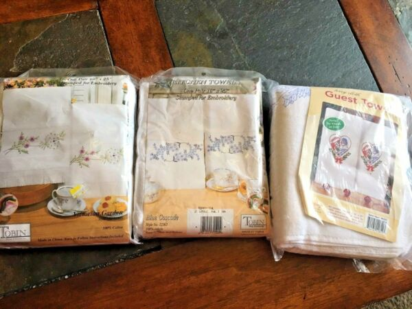 Terry Cloth guest  kitchen towels cross stitch kits - some w floss