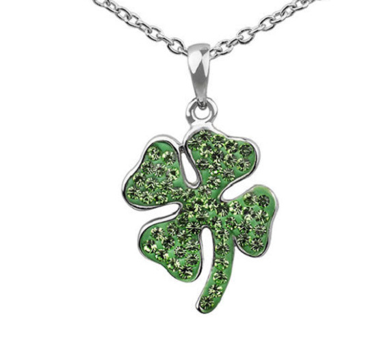 CRYSTAL 4 FOUR LEAF CLOVER IRISH GOOD LUCK GREEN SILVER PLATED NECKLACE 18