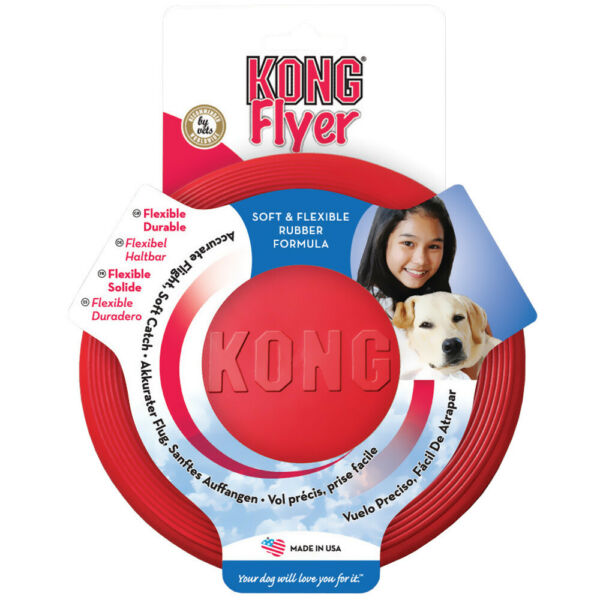 Rubber KONG Frisbee - Flyer Dog Toy - Fetch & Catch Toys - Suits all breeds