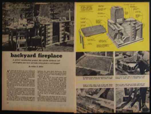 Brick FIREPLACE BBQ GRILL 1951 How-To Build PLANS