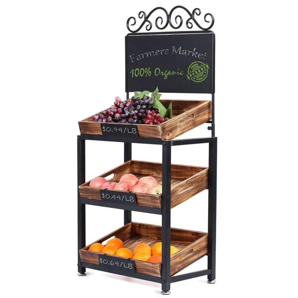 Fruit Basket Stand 3 Tier Vegetable Produce Rustic Crate Market Rack Holder Tray