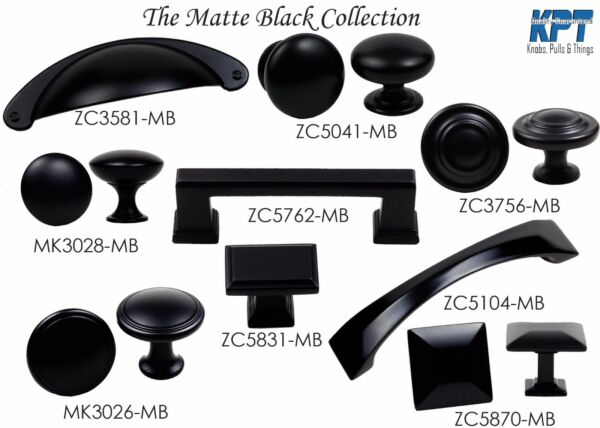 Knob Handle Pulls Collection in Matte Black Kitchen/Bath Cabinet Hardware by KPT
