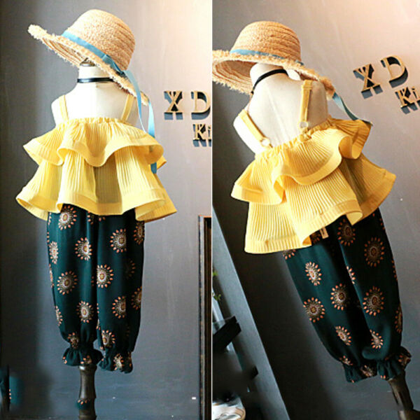 US Toddler Kids Baby Girls Ruffle Tops Long Pants 2Pcs Summer Outfits Clothes