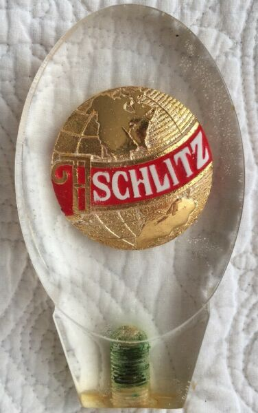 Vintage Schlitz Vintage Beer Tap Handle Earth World Acrylic Man Cave Bar #1
