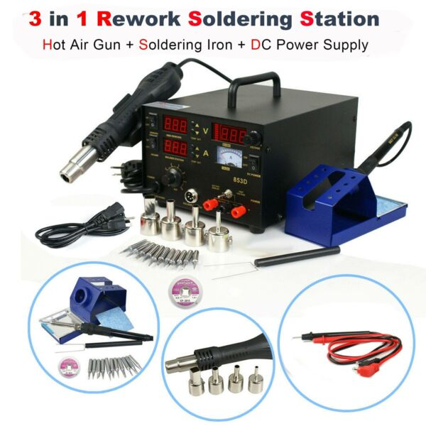 853D 3-in-1 SMD Rework Station Hot Air Gun Soldering Iron DC Power Supply 800W