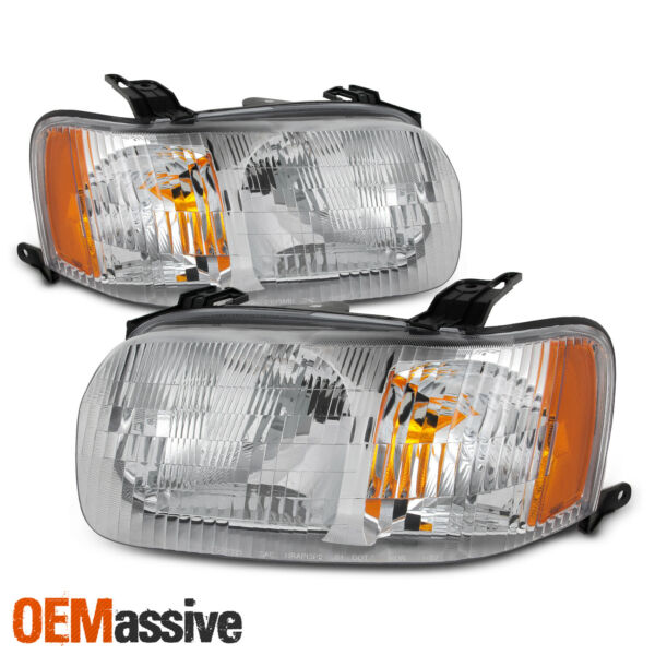 [OE Style] For 2001-2004 Ford Escape Chrome Bezel Headlight Lamp Assembly 02 03
