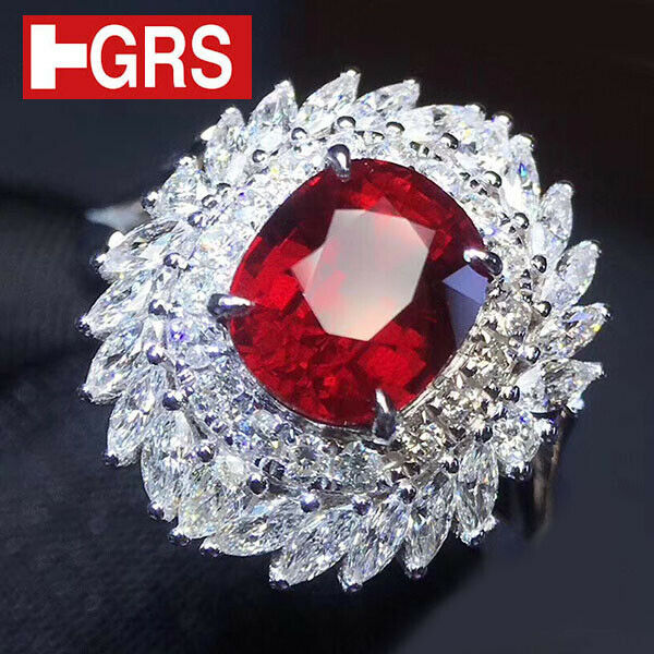 GRS Certified 2.04CT No Heat Vivid Red Ruby & 2.50ct Diamond 18 Karat Gold Ring