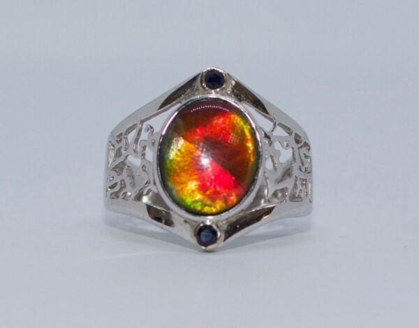 14k White Gold AAA Oval Ammolite And Blue Sapphire Hand Engraved Ring Size 7.75