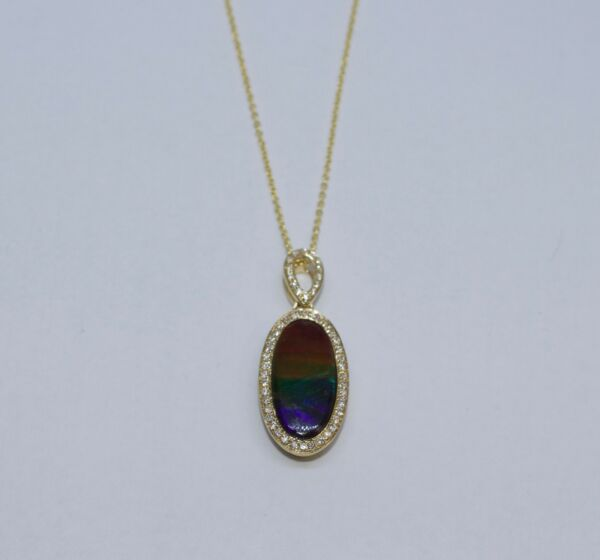 14k Yellow Gold AAA Oval Ammolite And Round Diamond Pendant And Chain