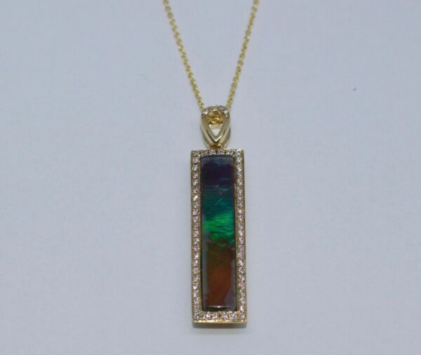 14k White Gold AAA Rectangle Ammolite And Round Diamond Pendant And Chain