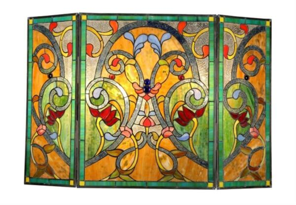 Stained Glass Chloe Lighting Victorian 3 Panel Folding Fireplace Screen 44 X 28quot;