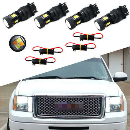 4pcs Dual-Color LED Turn Signal Lights Switchback For 2000-2014 GMC Sierra 1500