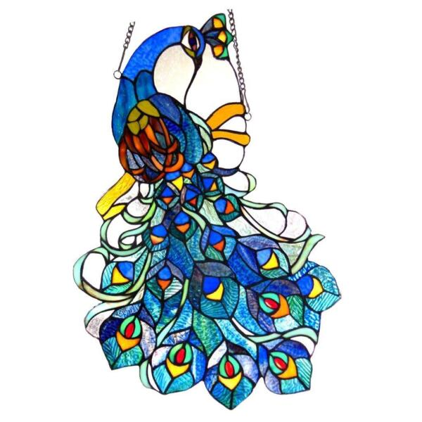 Stained Glass Chloe Lighting Peacock Window Panel CH1P670BP25 GPN 17 X 25quot;
