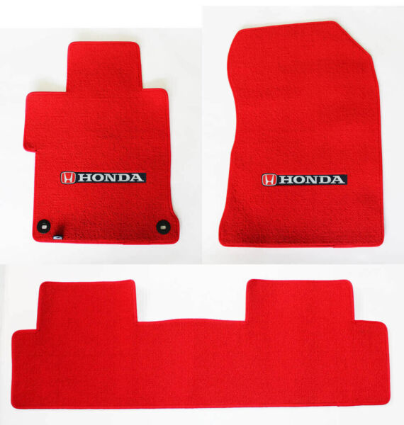 New 2006 2020 Honda Civic SI Custom Carpet Floor Mats Set Embroidered Logo Red