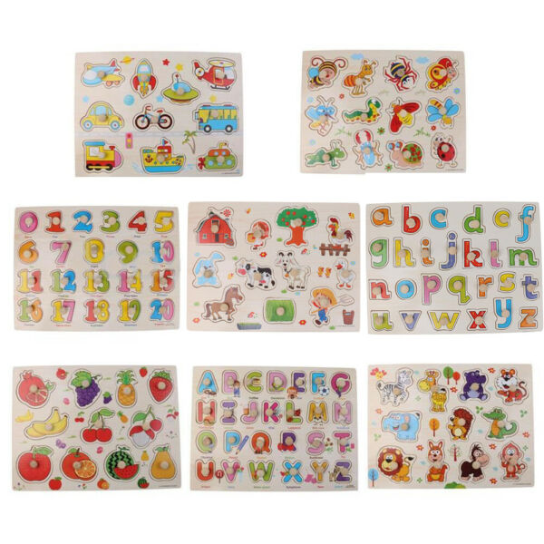 Alphabet  Numbers Wooden Peg Puzzles Baby Toddler Preschool Educational Toy Soft