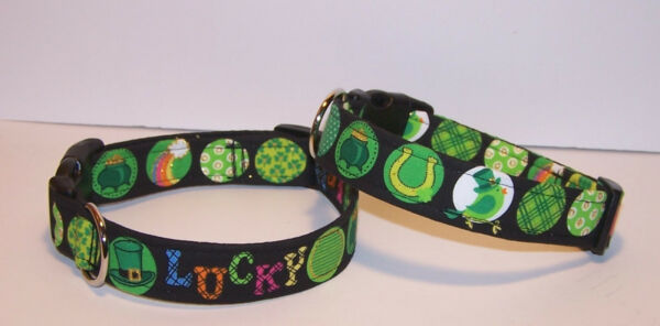 Wet Nose Designs Lucky Dog St Patricks Day Dog Collar Irish Green Black Glitter $9.99