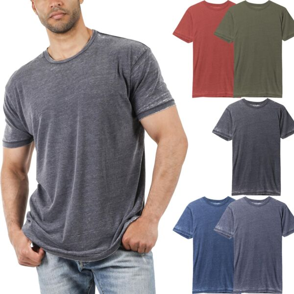 Mens Burnout Short Sleeve T Shirts Soft Faded Vintage Casual Crewneck Tee