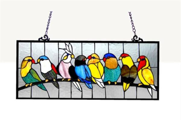 Stained Glass Chloe Lighting Birdies Window Panel 25.5 X 10.5 Inches Handcrafted