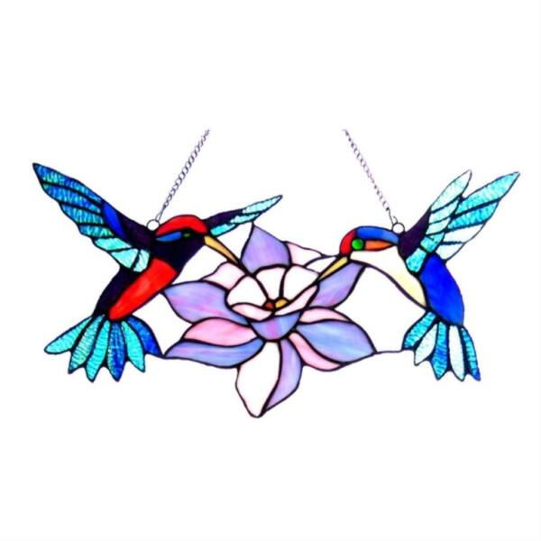 Stained Glass Chloe Lighting Hummingbirds Window Panel 18quot; Wide Handcrafted New