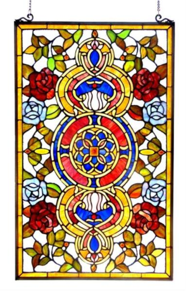 Stained Glass Chloe Lighting Victorian Red And Blue Roses Window Panel 20 X 32quot;