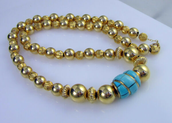 Estate Vintage Gorgeous 14k Yellow Gold Turquoise Bead 26.6 Gram Chain Necklace