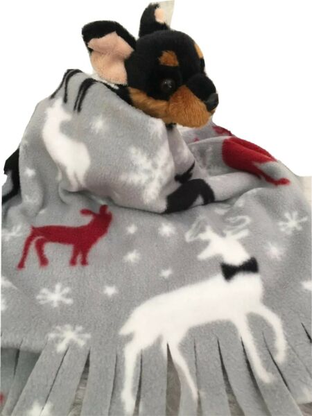 HOLIDAY REINDEER Fuzee Fleece Dog Blankets Soft Pet Blanket Travel Throw Cover $12.60